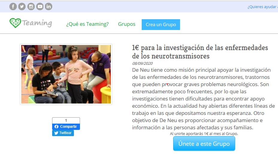 De Neu crea un grupo en la web de microdonaciones Teaming